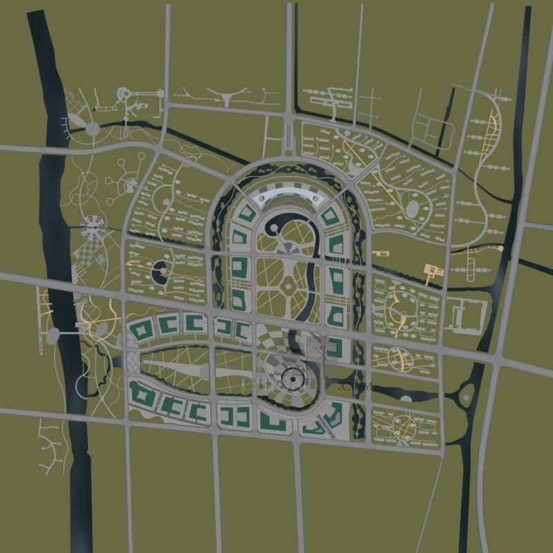 上海松江新城规划 商业写字楼群和住宅区