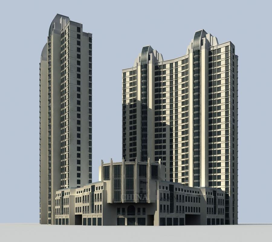 现代高层住宅带商业裙房