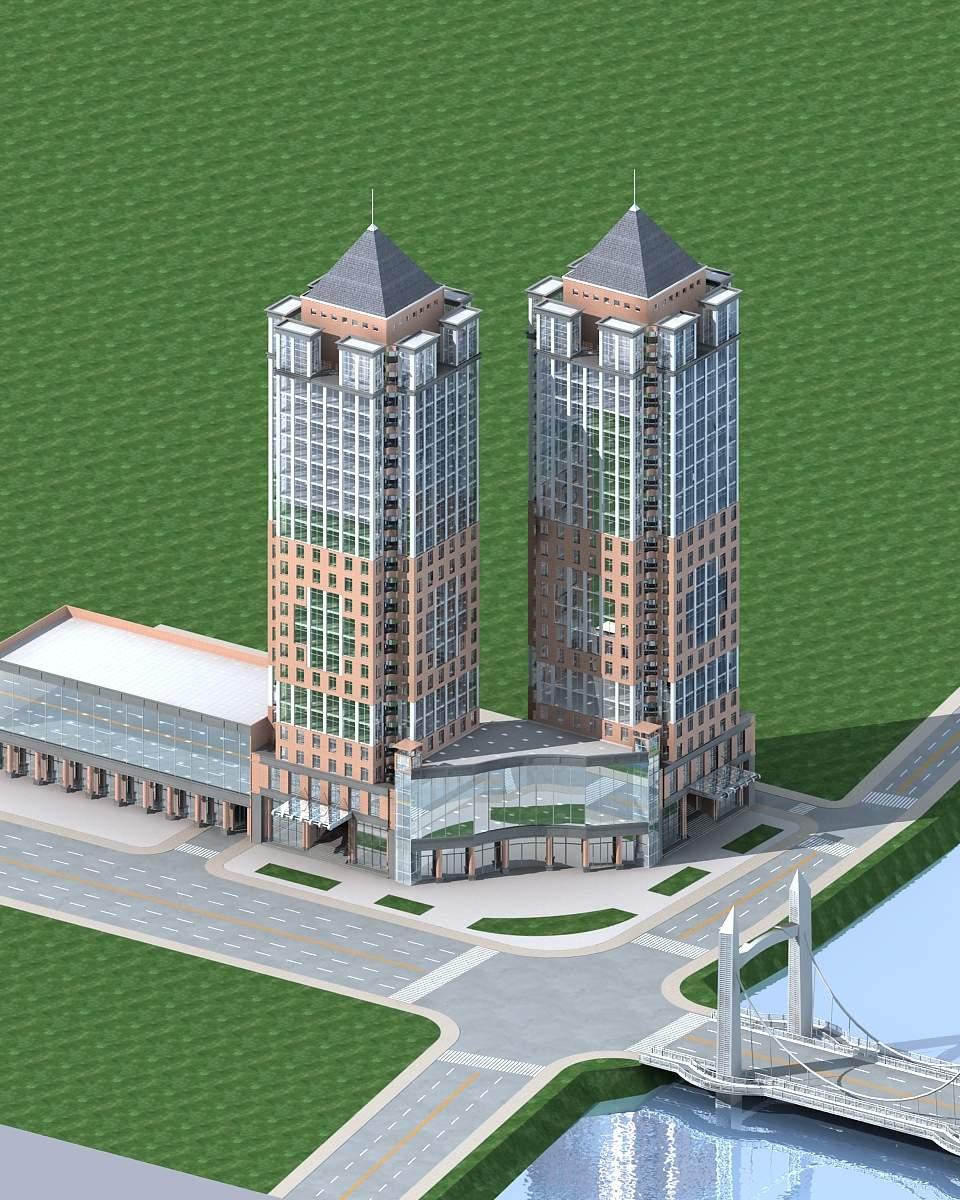 双塔式办公楼
