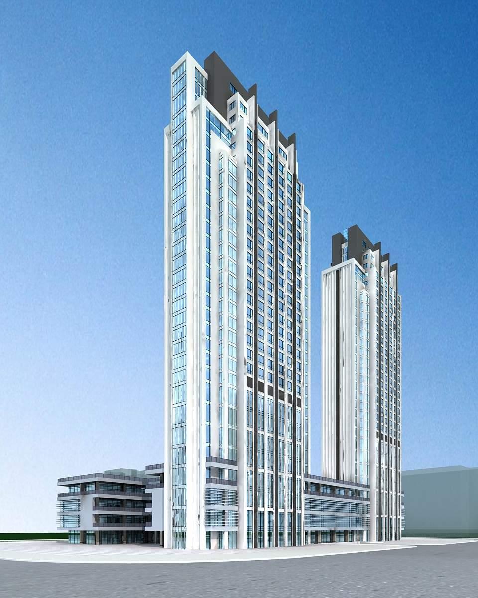 现代高层住宅楼及商业大厦