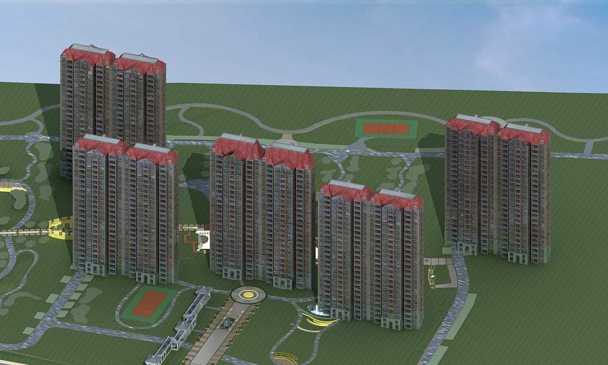 欧式高层住宅楼及景观