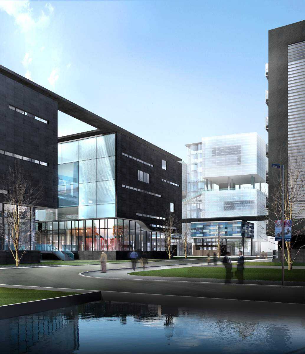 现代商业街及办公楼效果图下载