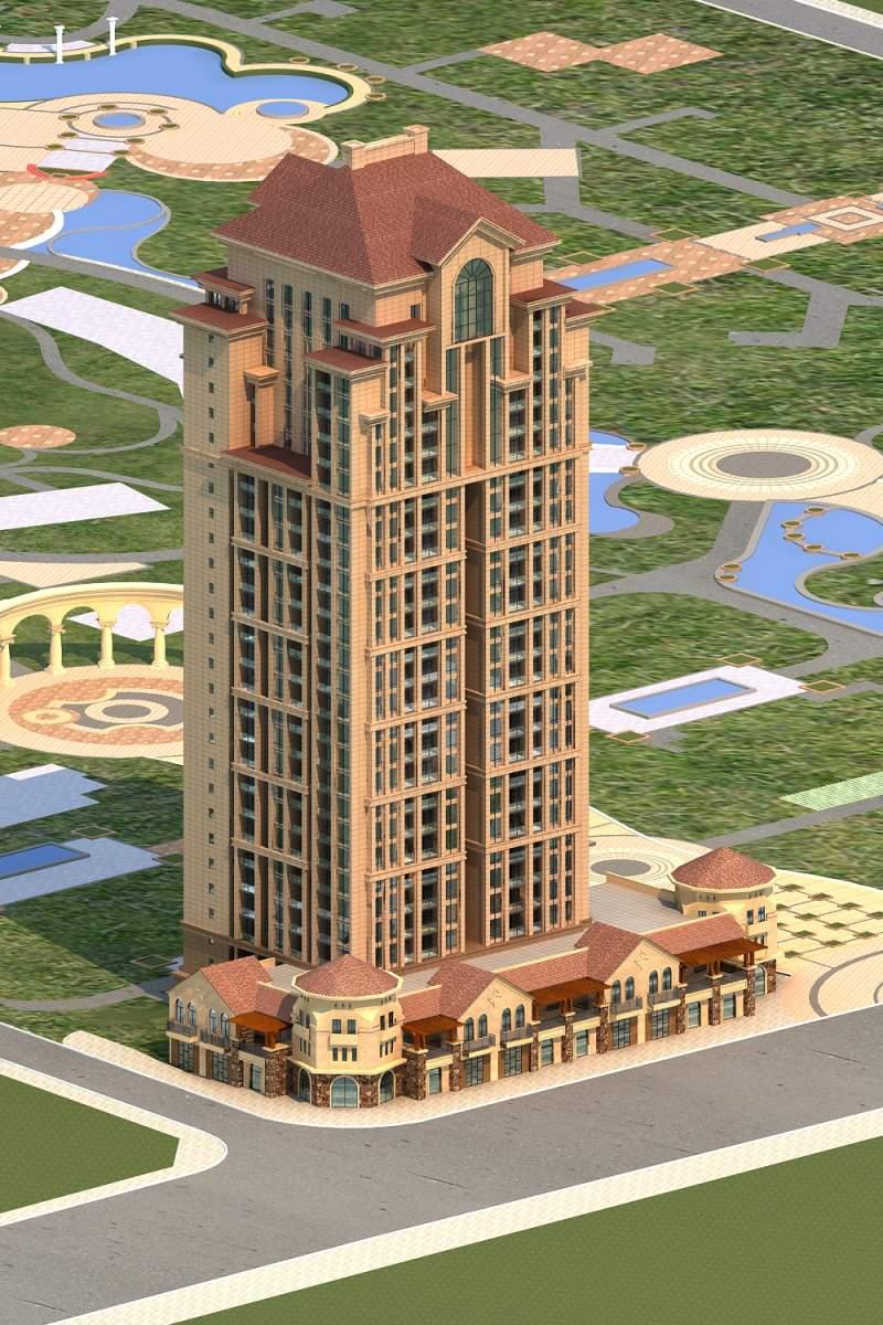 欧式高层住宅楼及商业裙房