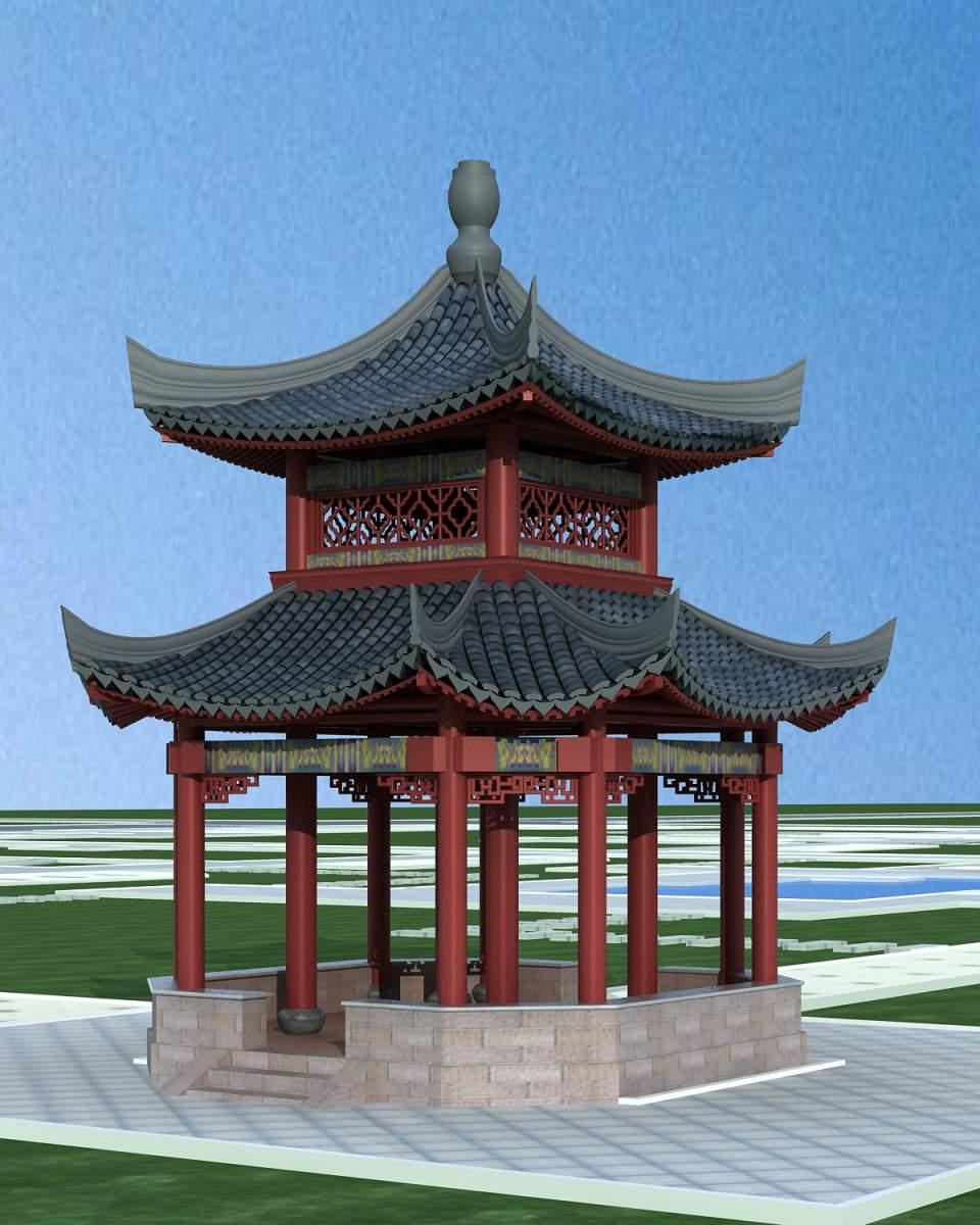 中式双层凉亭
