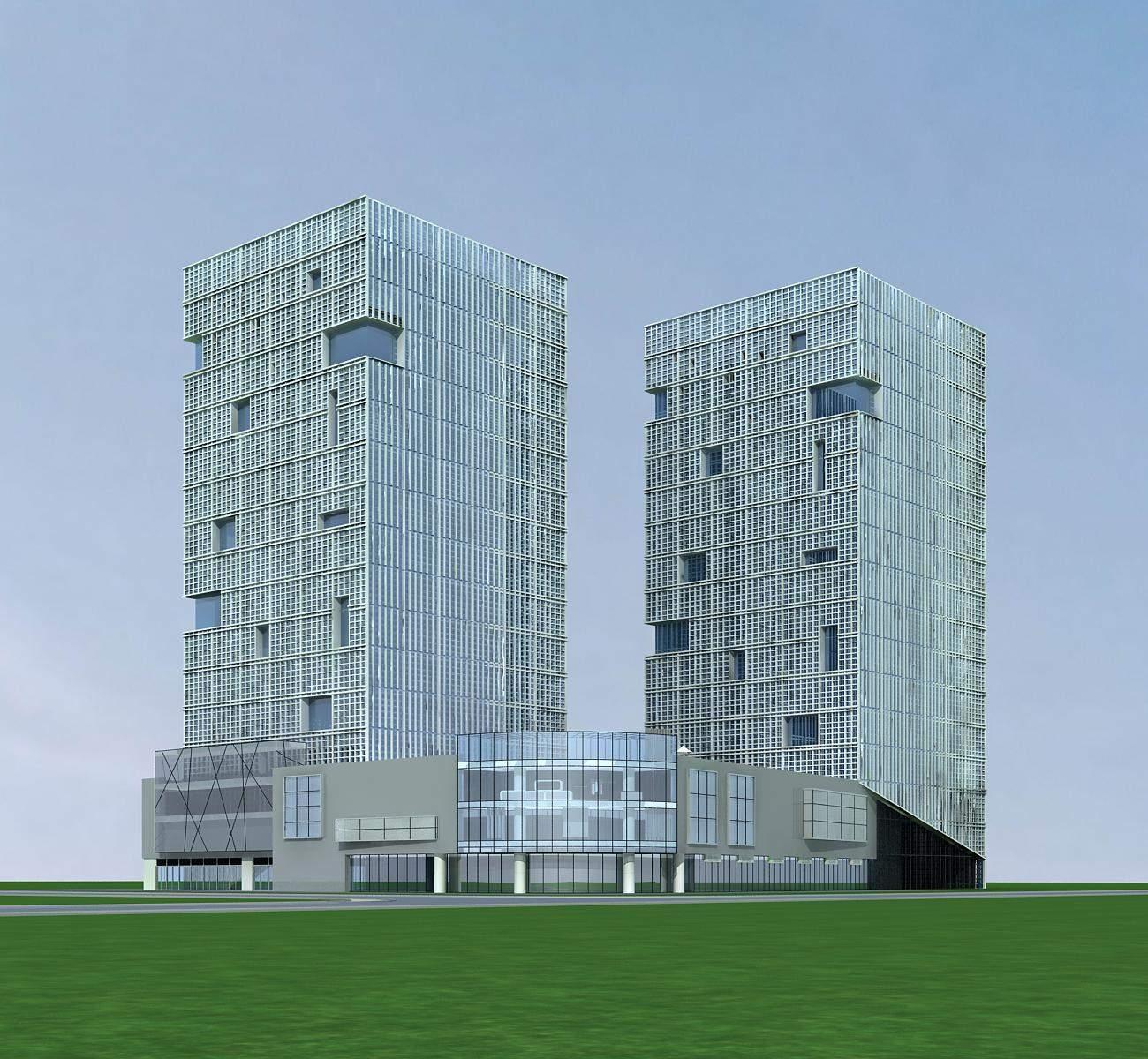 现代高层办公楼及商业裙房