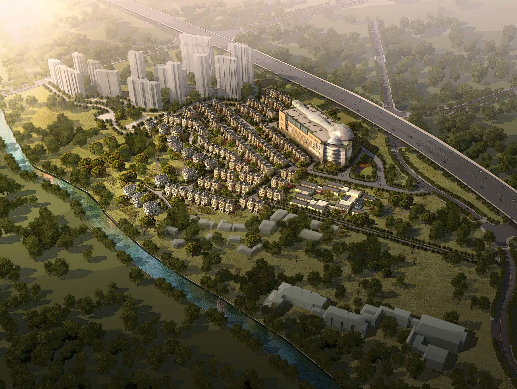现代多层商业大厦及欧式别墅群