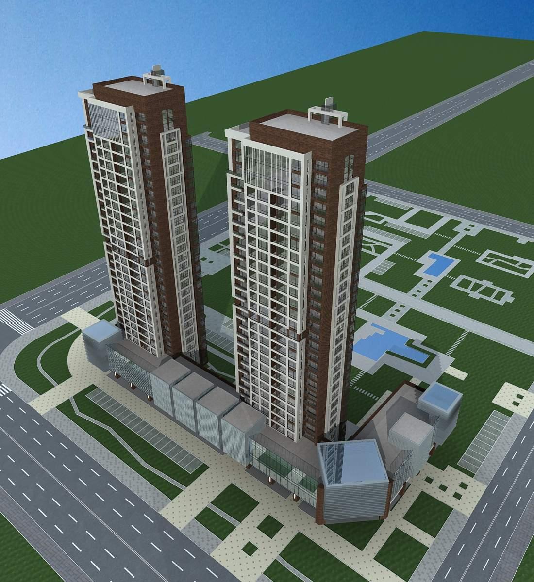 现代高层住宅楼及商业