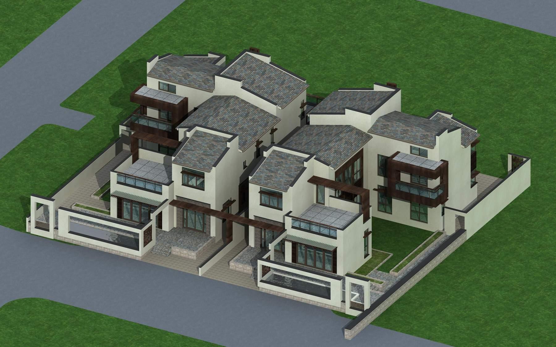 现代中式叠拼别墅