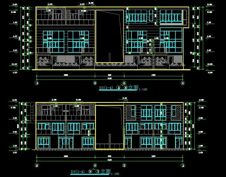 现代联排别墅2平立剖全