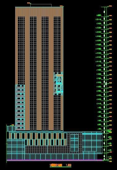 财信城市广场1,2号楼平立剖面图
