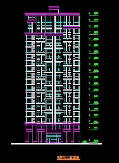 金山名都B型小高层住宅平立剖全