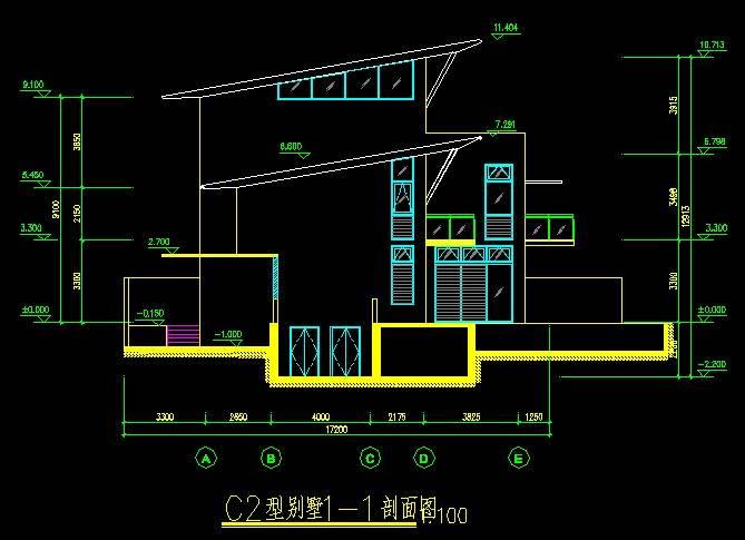 新加坡风格C2型别墅平立剖全