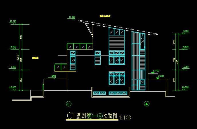 新加坡风格C1型别墅平立剖全