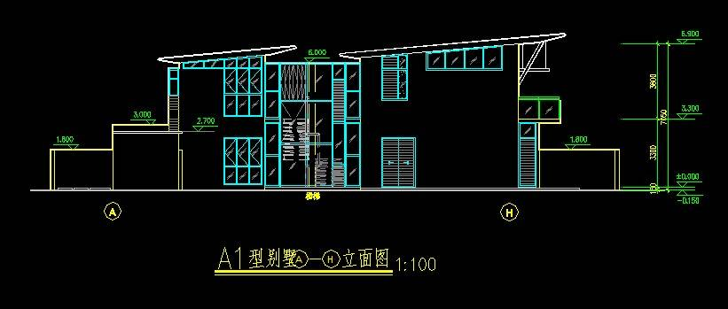 新加坡风格A型别墅平立剖全