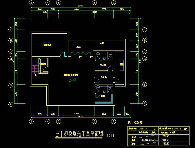 新加坡风格B1型别墅平立剖全