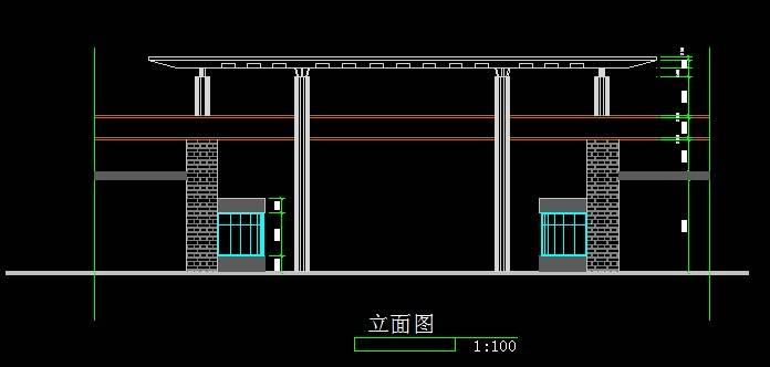 某小区入口大门平立面图
