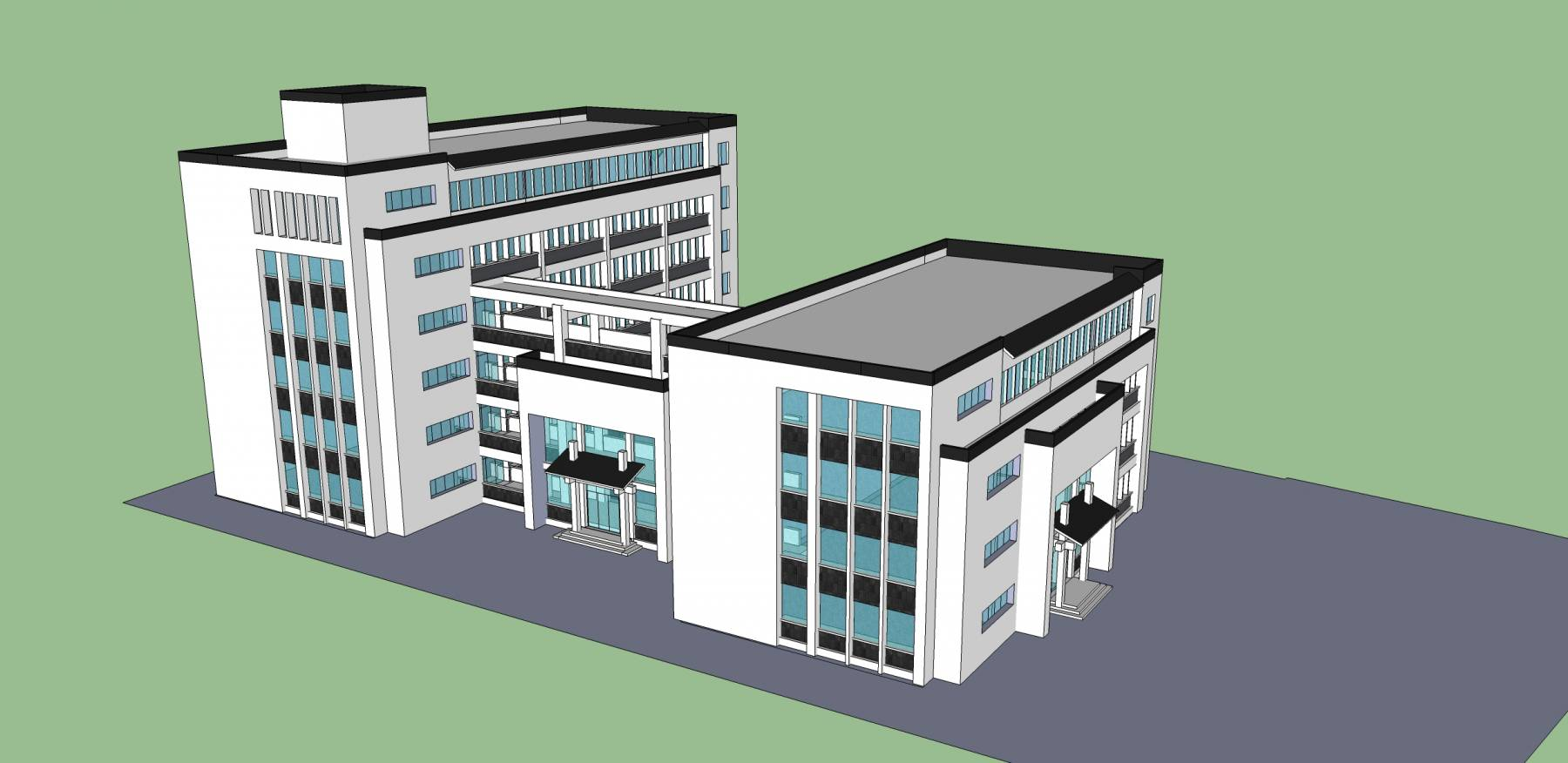 现代中式多层办公楼