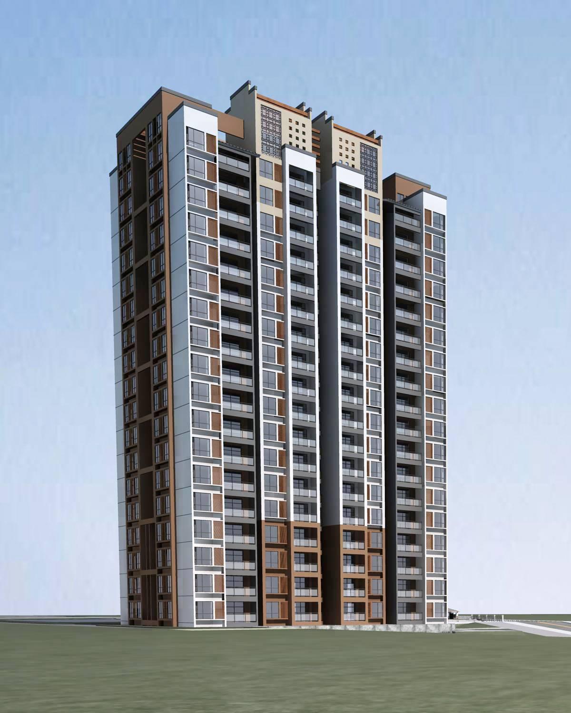 现代中式高层住宅楼