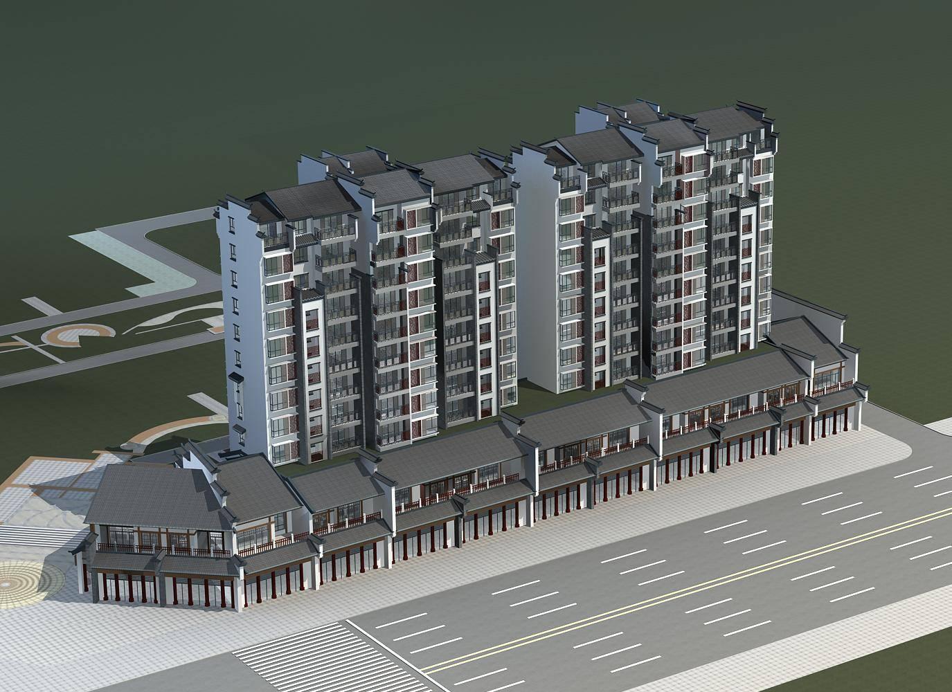 中式高层住宅楼及商业