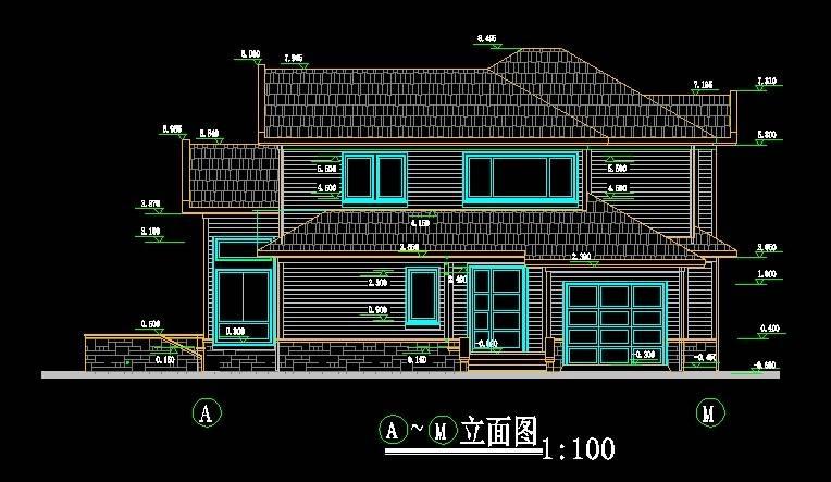 北美风格A13别墅平立剖全