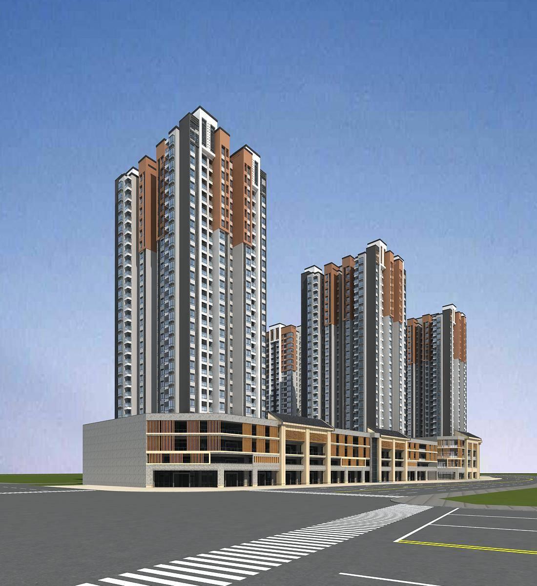 现代中式商业住宅小区