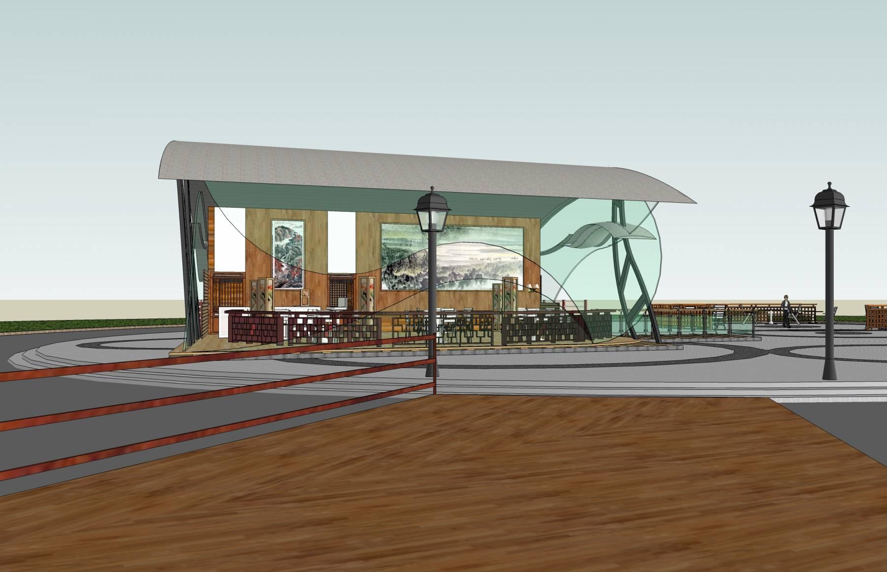 滨水茶室及周围景观