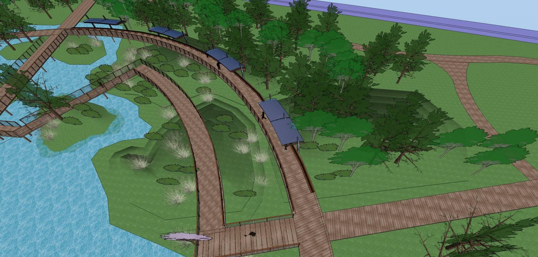 生态湿地栈道廊架