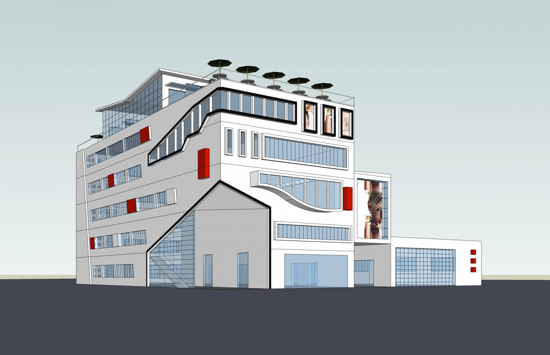 现代多层商业楼