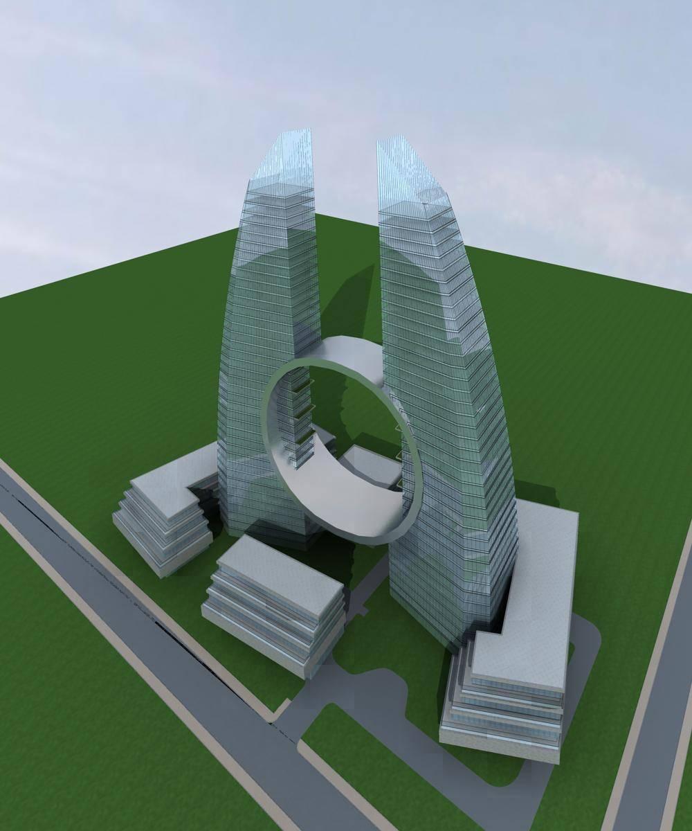 现代双塔式商业办公楼