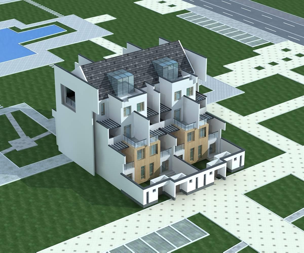现代中式双拼别墅