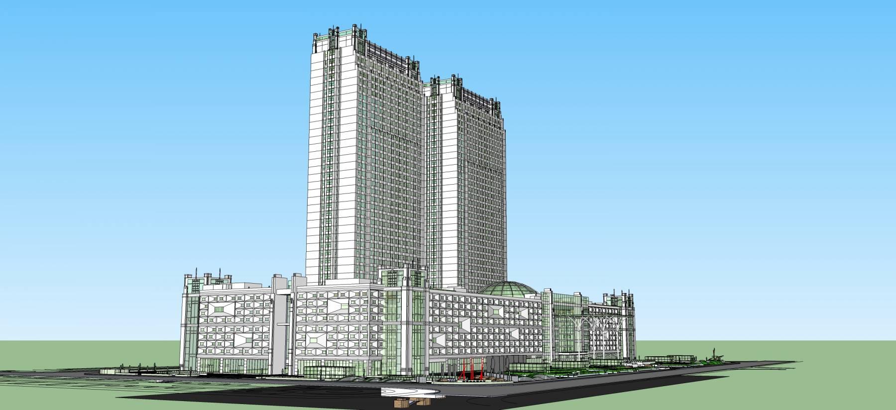 高层住宅带商业广场