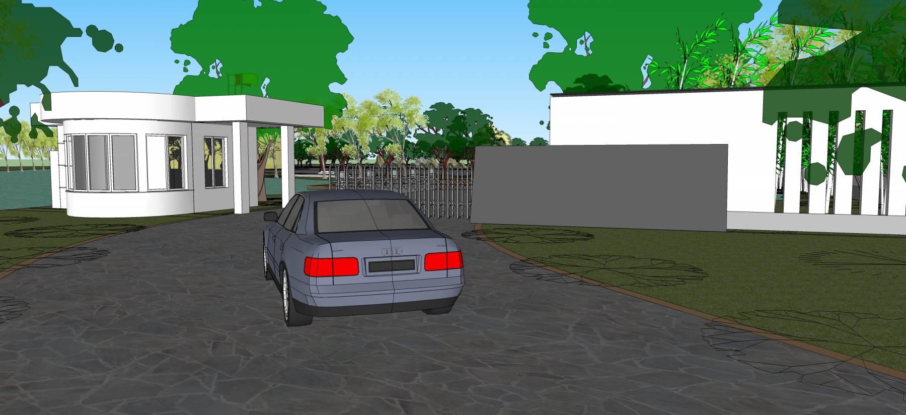加油站带景观