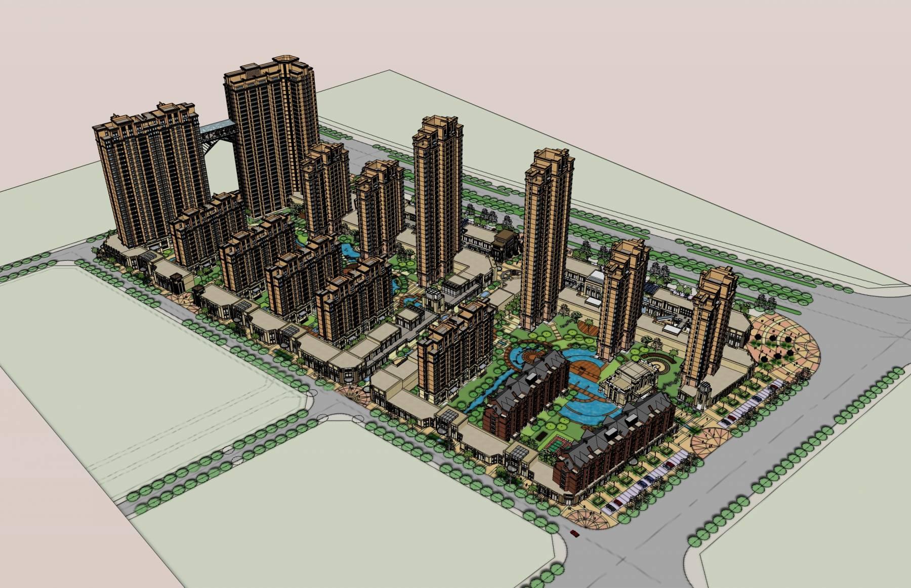 简欧风格商业住宅小区