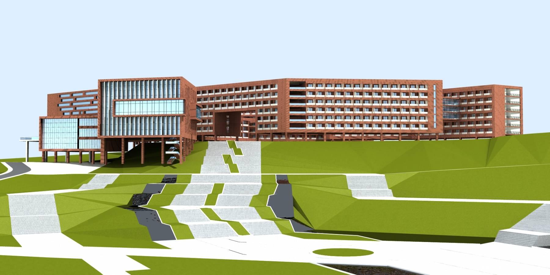 现代学校多层教学群楼