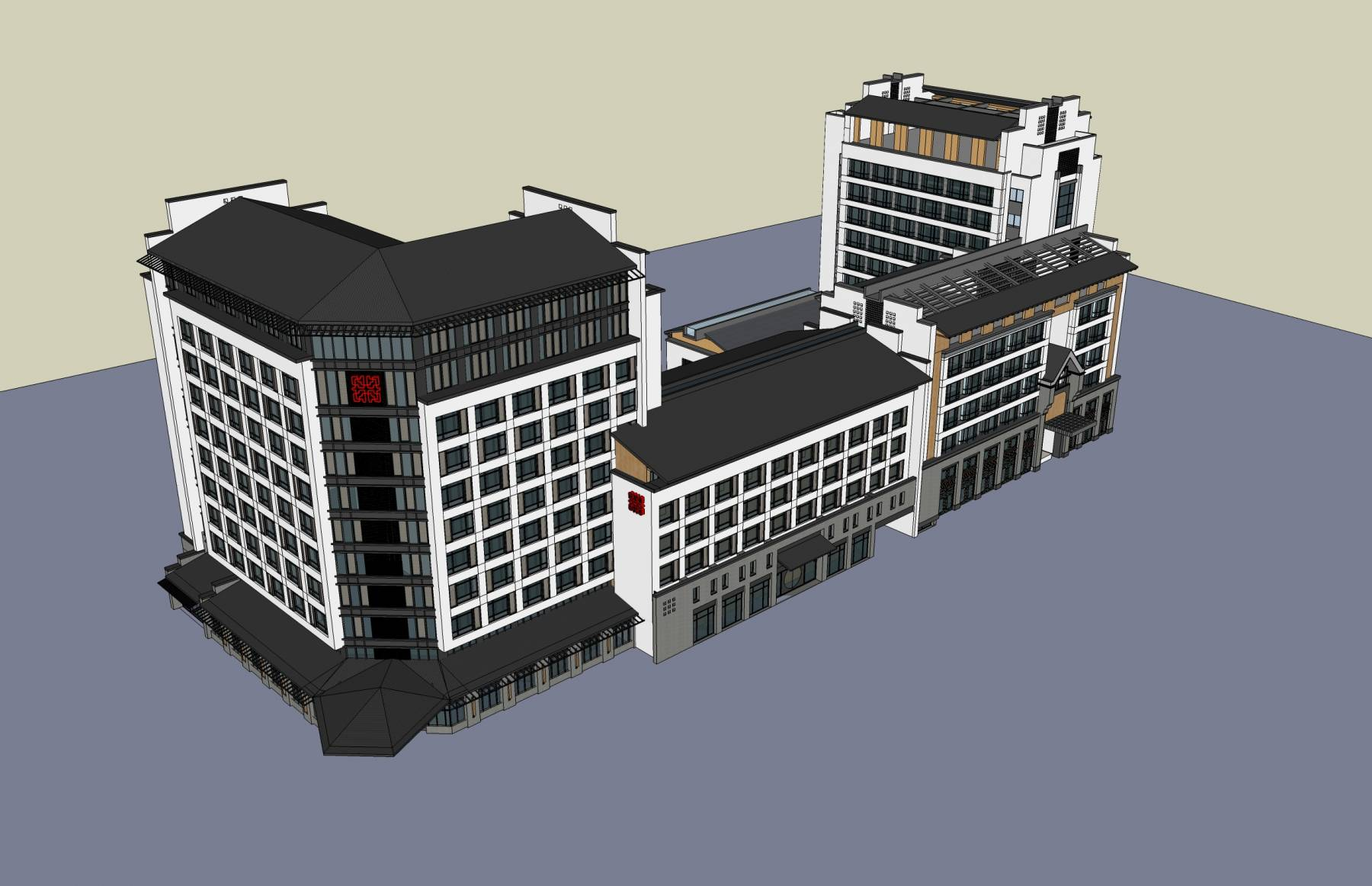 中式酒店及办公楼