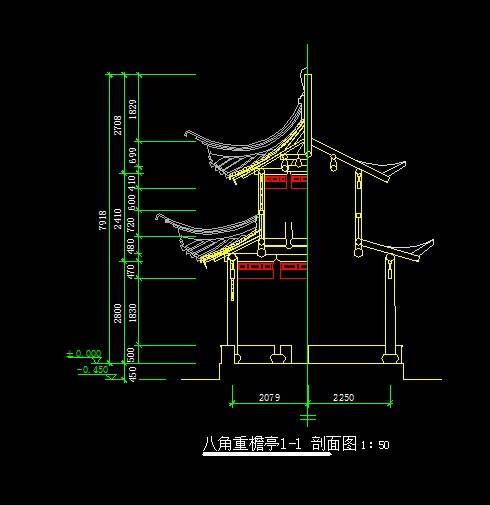 中式风格八角亭