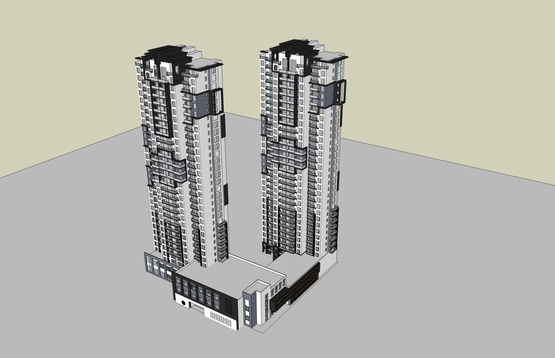 新中式高层商业住宅楼