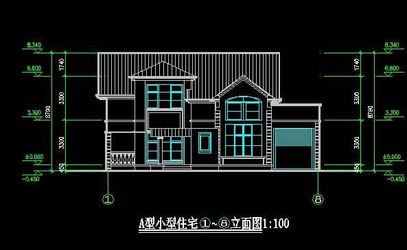 新中式别墅平立剖全