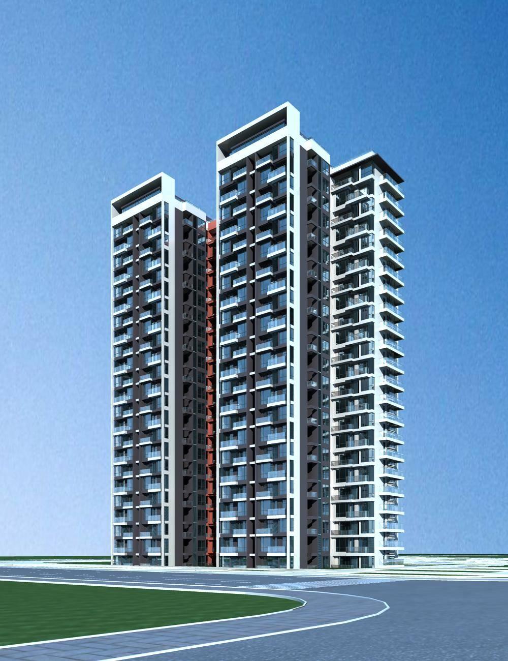现代高层住宅楼