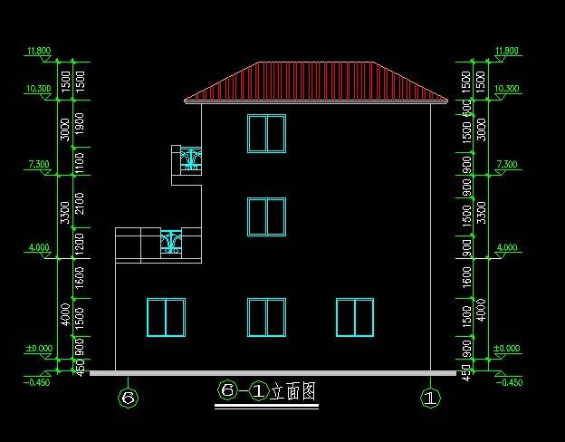新中式风格别墅平立剖全