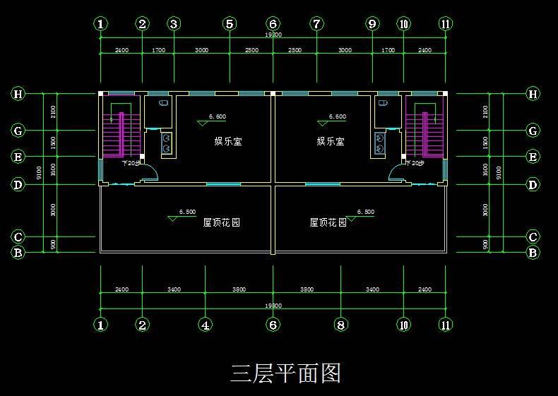 现代双拼别墅平面图