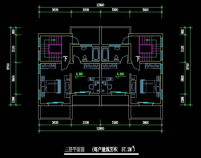 欧式风格双拼别墅平面图