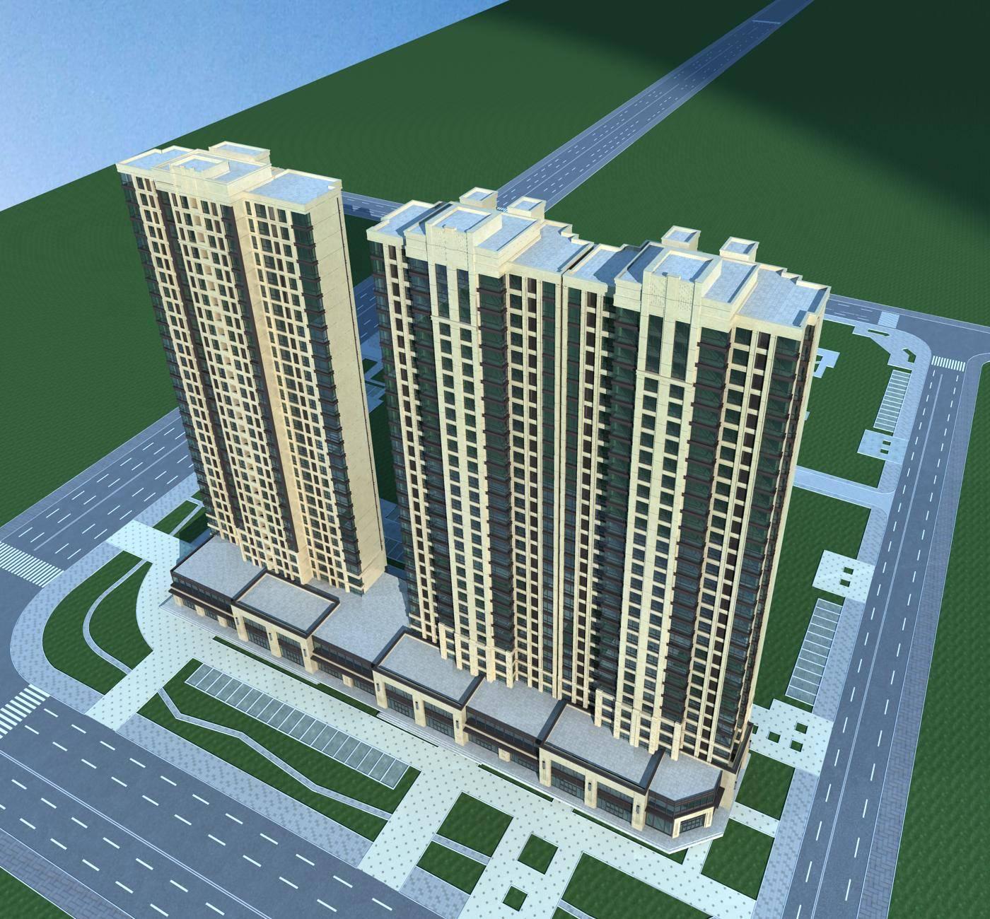 简欧风格高层商业住宅楼