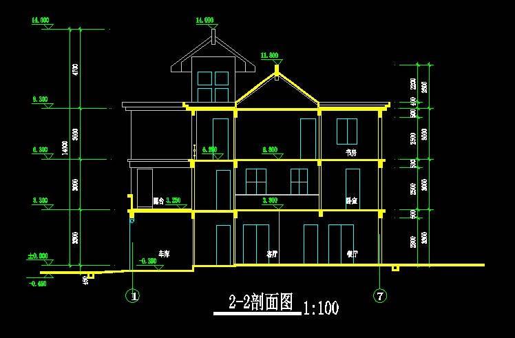 中式别墅平立剖全