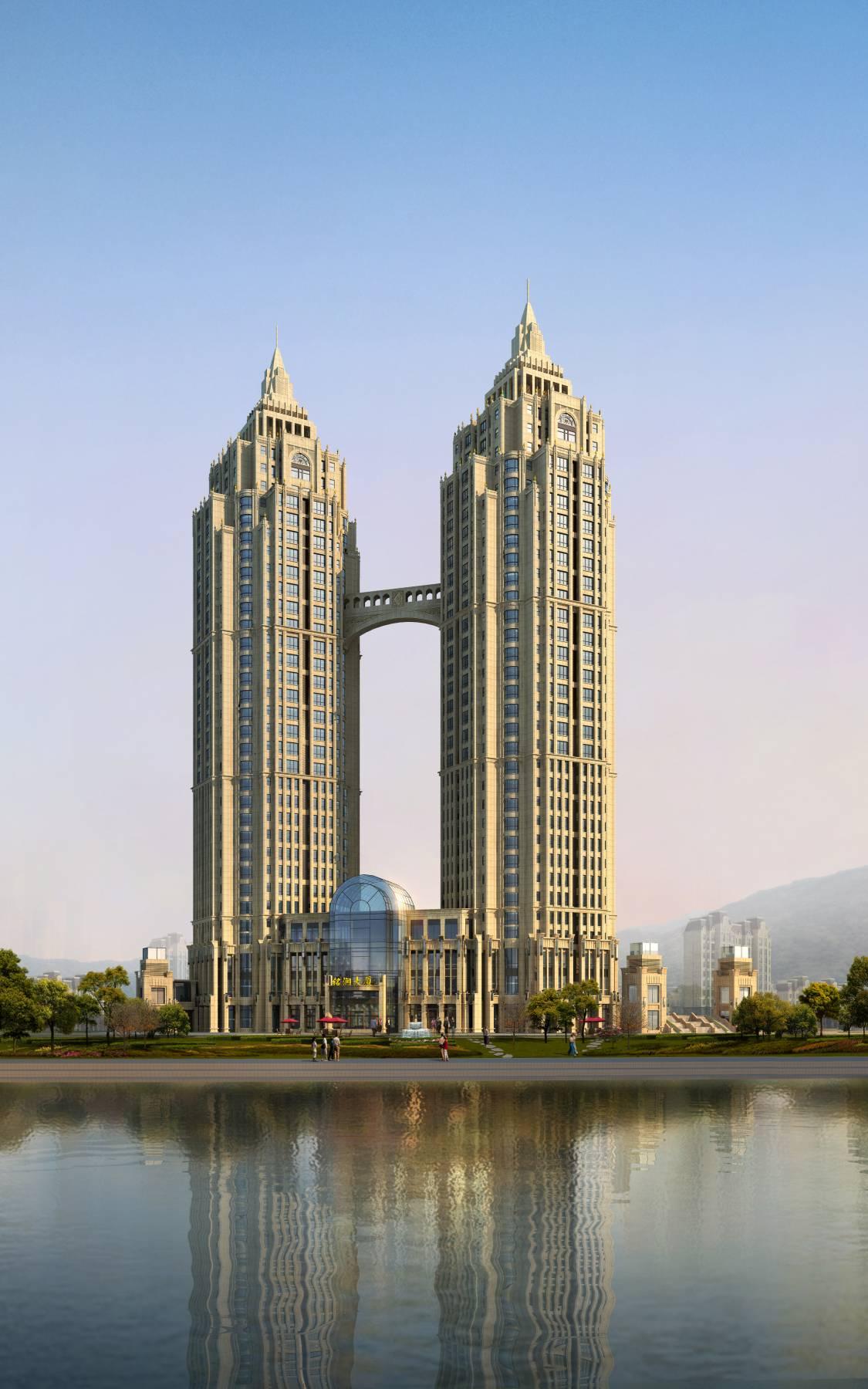 双塔式商业办公楼