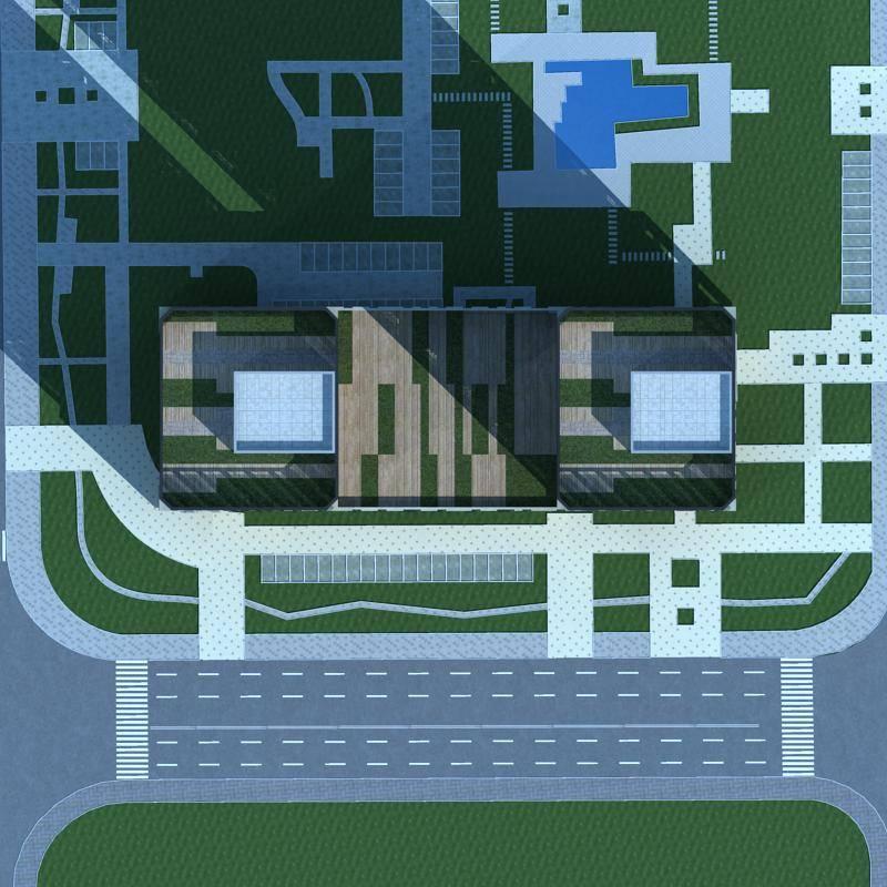 现代双塔式办公楼
