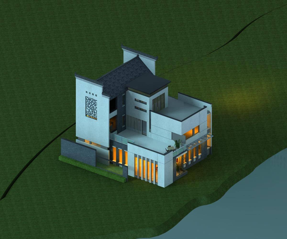 中式别墅及荷花池