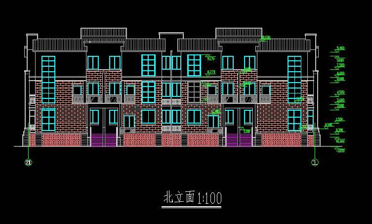 中式联排别墅平立剖全