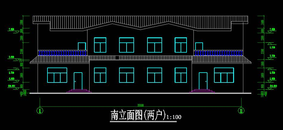 中式双拼别墅平立剖全