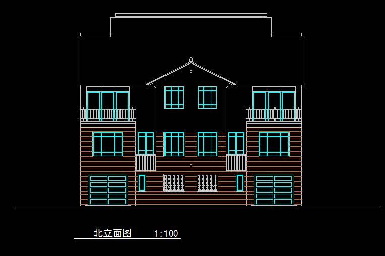 中式双拼别墅平立面
